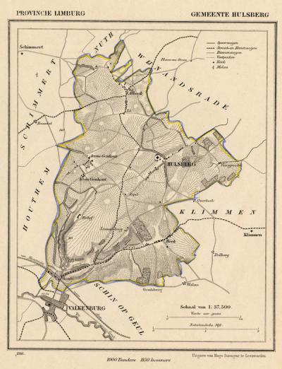 Gemeente Hulsberg anno ca. 1870, kaart J. Kuijper (collectie www.atlasenkaart.nl)