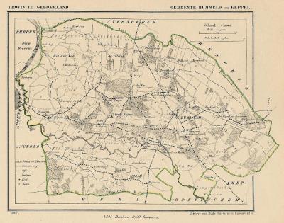 Gemeente Hummelo en Keppel anno ca. 1870, kaart J. Kuijper