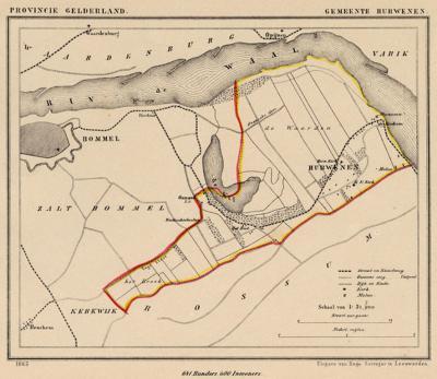 Gemeente Hurwenen anno ca. 1870, kaart J. Kuijper