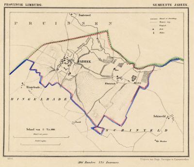 Gemeente Jabeek anno ca. 1870, kaart J. Kuijper (collectie www.atlasenkaart.nl)