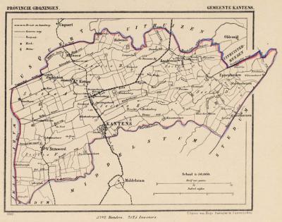 Gemeente Kantens anno ca. 1870, kaart J. Kuijper