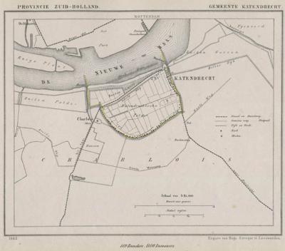Gemeente Katendrecht anno ca. 1870, kaart J. Kuijper (collectie www.atlasenkaart.nl)