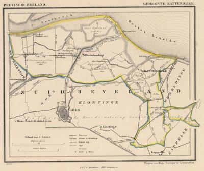 Gemeente Kattendijke anno ca. 1870, kaart J. Kuijper (© www.atlasenkaart.nl)