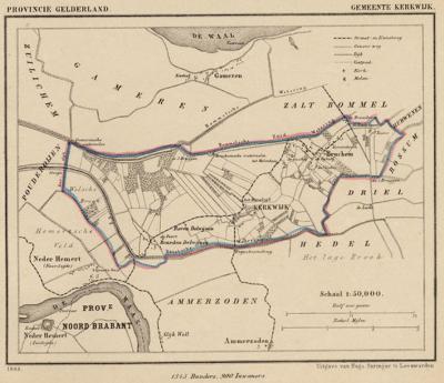 Gemeente Kerkwijk anno ca. 1870, kaart J. Kuijper