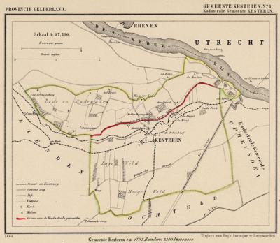 Gemeente Kesteren anno ca. 1870, kaart J. Kuijper, exclusief de begin 19e eeuw opgeheven gemeente Opheusden