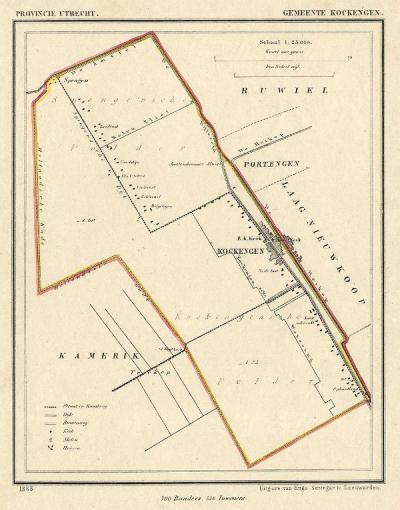 Gemeente Kockengen anno ca. 1870, kaart J. Kuijper (© www.atlasenkaart.nl)