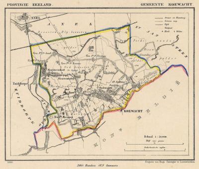 Gemeente Koewacht anno ca. 1870, kaart J. Kuijper (collectie www.atlasenkaart.nl)