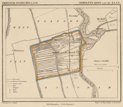 Gemeente Koog aan de Zaan anno ca. 1870, kaart J. Kuijper (collectie www.atlasenkaart.nl)