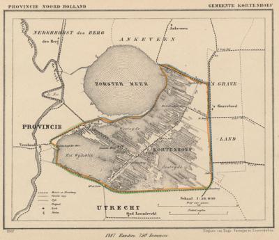 Gemeente Kortenhoef anno ca. 1870, kaart J. Kuijper (collectie www.atlasenkaart.nl)
