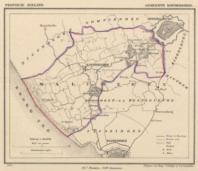 Gemeente Koudekerke anno ca. 1870, kaart J. Kuijper (© www.atlasenkaart.nl)