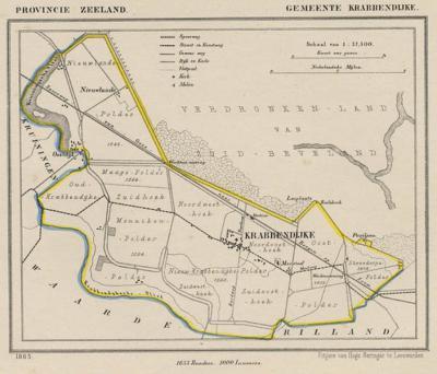 Gemeente Krabbendijke anno ca. 1870, kaart J. Kuijper (collectie www.atlasenkaart.nl)
