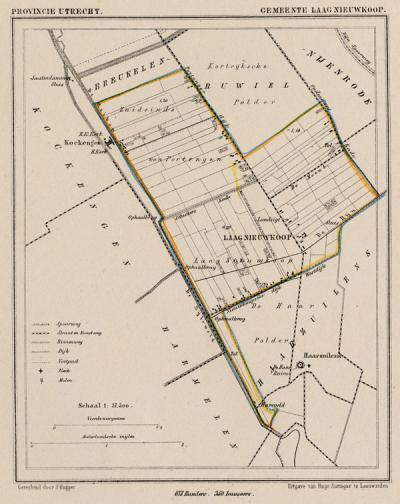 Gemeente Laag-Nieuwkoop anno ca. 1870, kaart J. Kuijper (© www.atlasenkaart.nl)