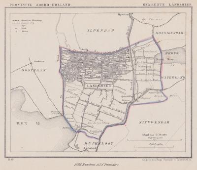 Gemeente Kedichem anno ca. 1870, kaart J. Kuijper (© www.atlasenkaart.nl)