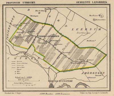 Gemeente Langbroek anno ca. 1870. Op deze kaart is goed te zien dat Langbroek wordt omsloten door de Utrechtse Heuvelrug (Driebergen, Doorn, Leersum, Amerongen) én de Kromme Rijnstreek (Cothen, Wijk bij Duurstede). (collectie www.atlasenkaart.nl)
