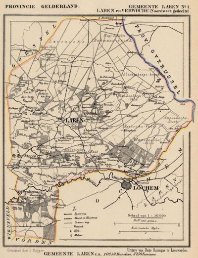 Gemeente Laren, NW deel, anno ca. 1870, kaart J. Kuijper