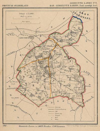 Gemeente Laren, ZO deel, anno ca. 1870, kaart J. Kuijper