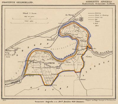Kaart van de begin 19e eeuw opgeheven gemeente Lathum, situatie anno ca. 1870, kaart J. Kuijper