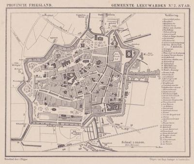 Leeuwarden-stad anno ca. 1870, kaart J. Kuijper (collectie www.atlasenkaart.nl)