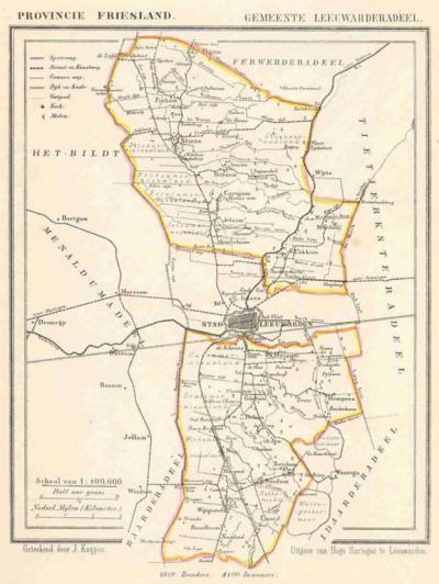 Gemeente Leeuwarderadeel anno ca. 1870, kaart J. Kuijper (collectie www.atlasenkaart.nl)