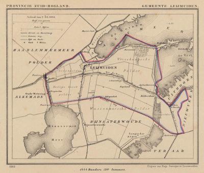 Gemeente Leimuiden anno ca. 1870, kaart J. Kuijper (collectie www.atlasenkaart.nl)