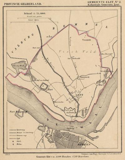 Kaart van de in 1818 opgeheven gemeente Lent, situatie anno ca. 1870, kaart J. Kuijper