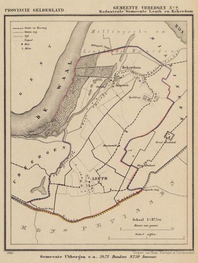 Kaart van de in 1814 opgeheven gemeente Leuth (die volgens deze kaart - ook wel? - Leuth en Kekerdom heette), situatie anno ca. 1870, kaart J. Kuijper