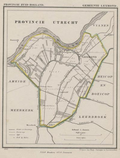 Gemeente Lexmond anno ca. 1870, kaart J. Kuijper (collectie www.atlasenkaart.nl)