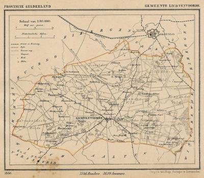Gemeente Lichtenvoorde anno ca. 1870, kaart J. Kuijper
