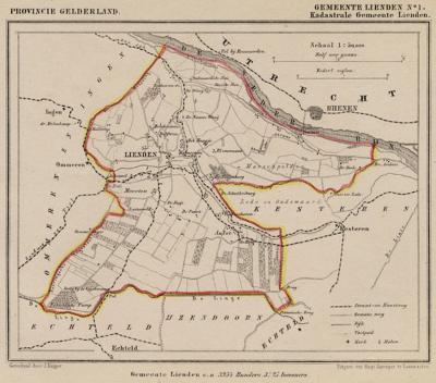 Gemeente Lienden anno ca. 1870, kaart J. Kuijper, exclusief de begin 19e eeuw opgeheven gemeente Ingen en Ommeren