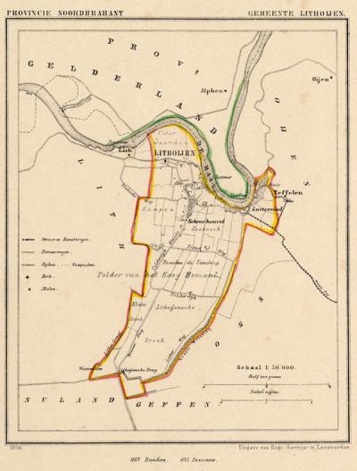 Gemeente Lithoijen anno ca. 1870, kaart J. Kuijper (collectie www.atlasenkaart.nl)