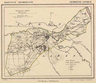 Gemeente Lochem anno ca. 1870, kaart J. Kuijper