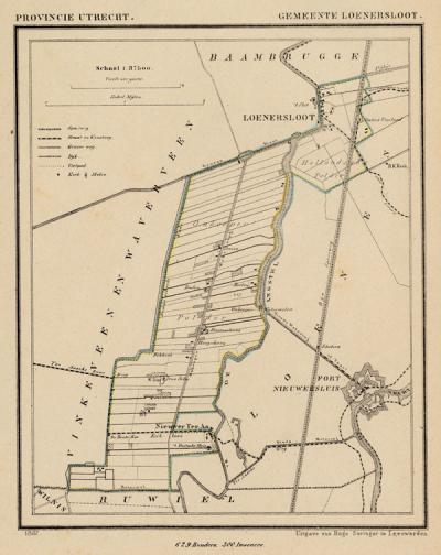 Gemeente Loenersloot anno ca. 1870, kaart J. Kuijper (© www.atlasenkaart.nl)