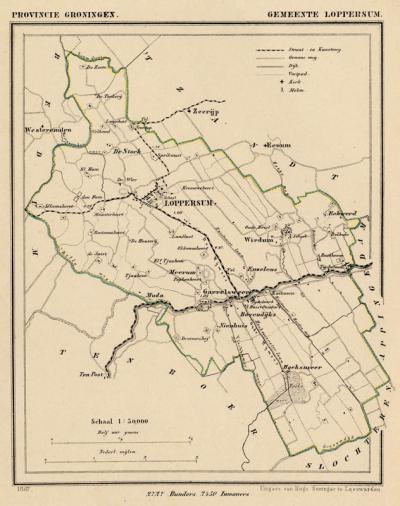 Gemeente Loppersum anno ca. 1870, kaart J. Kuijper (collectie www.atlasenkaart.nl)