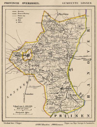 Gemeente Losser anno ca. 1870, kaart J. Kuijper (collectie www.atlasenkaart.nl)