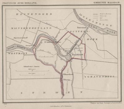 Gemeente Maasdam anno ca. 1870, kaart J. Kuijper. Ook hier is duidelijk te zien dat buurtschap Cillaarshoek een 'wormvormig aanhangsel' was van de gemeente Maasdam. (© www.atlasenkaart.nl)