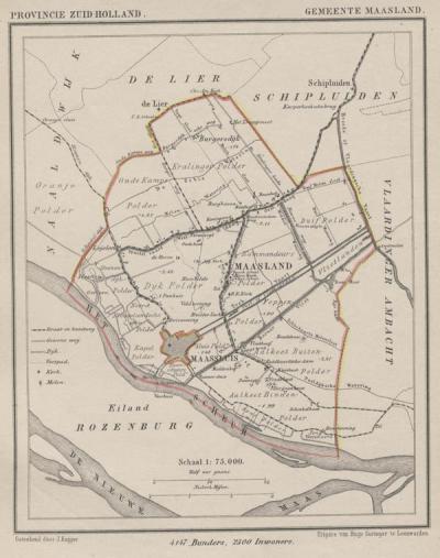 Op deze gemeentekaart uit ca. 1870 van J. Kuijper, is duidelijk te zien dat de gemeente Maasland geheel om de stad en gemeente Maassluis heen lag. En dat de gemeente Maassluis aanvankelijk niet meer omvatte dan wat we nu het centrum van die stad noemen.
