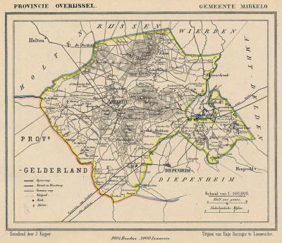 Gemeente Markelo anno ca. 1870, kaart J. Kuijper (collectie www.atlasenkaart.nl)