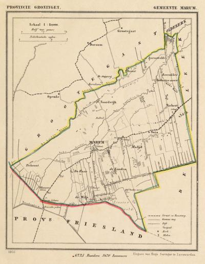 Gemeente Marum anno ca. 1870, kaart J. Kuijper (collectie www.atlasenkaart.nl)