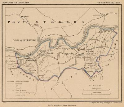 Gemeente Maurik anno ca. 1870, kaart J. Kuijper
