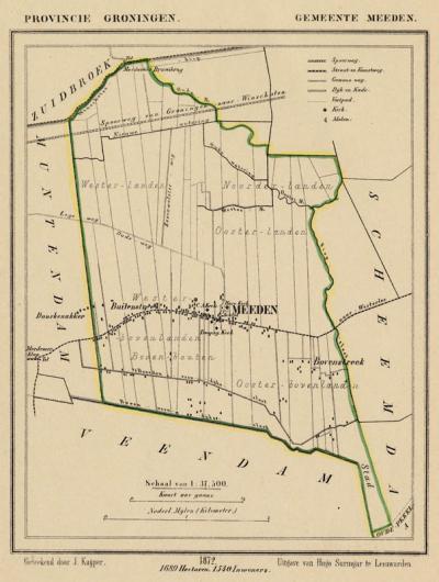 Gemeente Meeden anno ca. 1870, kaart J. Kuijper (collectie www.atlasenkaart.nl)