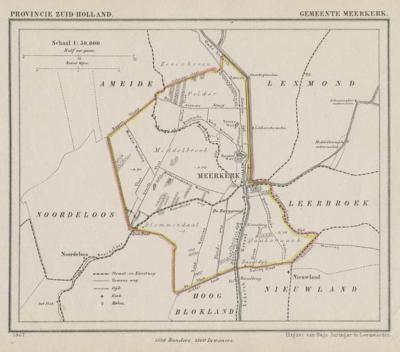 Gemeente Meerkerk anno ca. 1870, kaart J. Kuijper (collectie www.atlasenkaart.nl) Het dorpsgebied van Meerkerk ligt grotendeels in de Alblasserwaard, maar het min of meer driehoekige gedeelte O van het Merwedekanaal ligt in de streek Vijfheerenlanden.