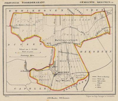 Gemeente Meeuwen, Hill en Babyloniënbroek anno ca. 1870, kaart J. Kuijper (collectie www.atlasenkaart.n