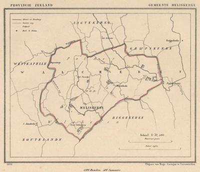 Gemeente Meliskerke anno ca. 1870, kaart J. Kuijper (collectie www.atlasenkaart.nl)