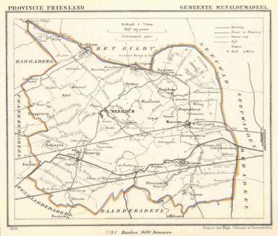Gemeente Menaldumadeel anno ca. 1870, kaart J. Kuijper (collectie www.atlasenkaart.nl)