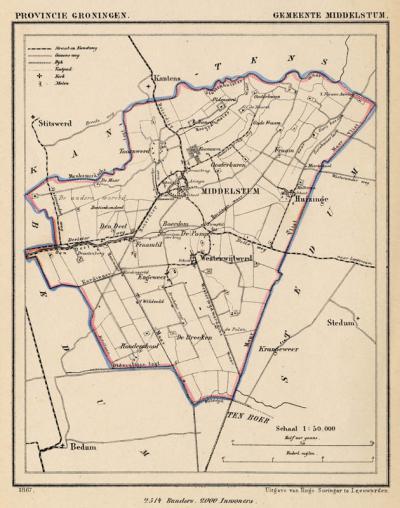 Gemeente Middelstum anno ca. 1870, kaart J. Kuijper (collectie www.atlasenkaart.nl)