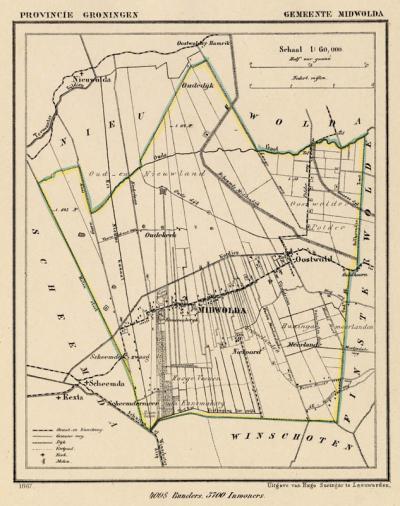 Gemeente Midwolda anno ca. 1870, kaart J. Kuijper (collectie www.atlasenkaart.nl)