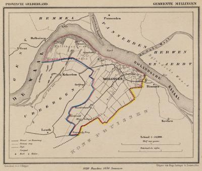 Gemeente Millingen aan de Rijn anno ca. 1870, kaart J. Kuijper
