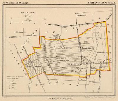 Gemeente Muntendam anno ca. 1870, kaart J. Kuijper (collectie www.atlasenkaart.nl)