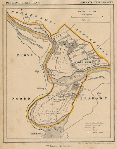 Gemeente Nederhemert anno ca. 1870, kaart J. Kuijper