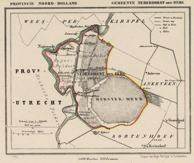 Gemeente Nederhorst den Berg anno ca. 1870, kaart J. Kuijper (collectie www.atlasenkaart.nl)